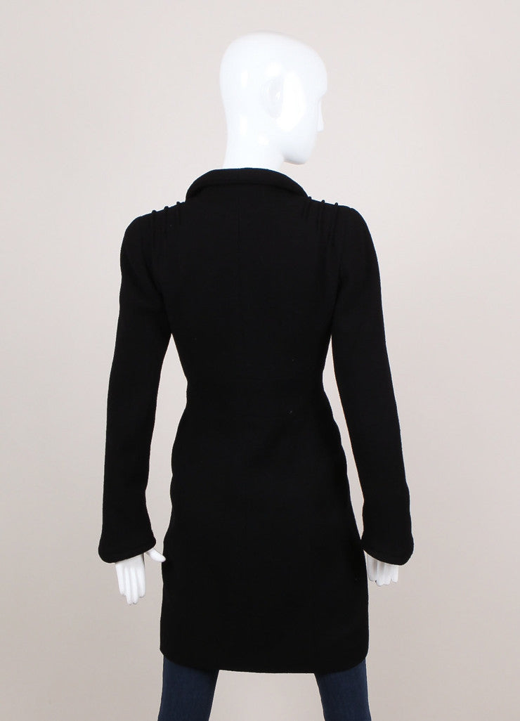 Black Crepe Wool Buttoned Long Sleeve Fitted Jacket