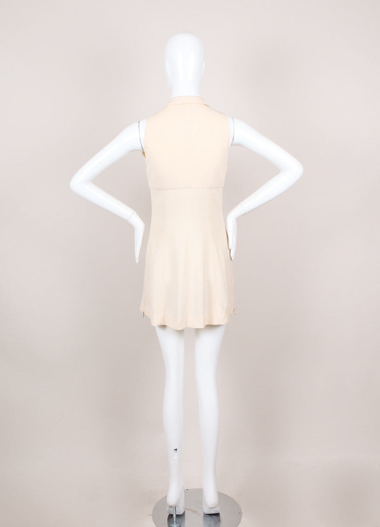 Cream Sleeveless Zippered Collared Mini Dress