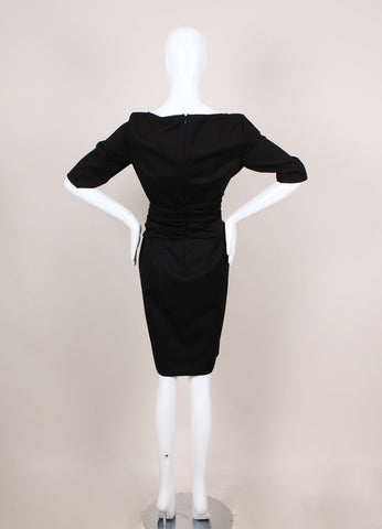 New With Tags Black Ruched Waist Mid Sleeve Sheath Dress