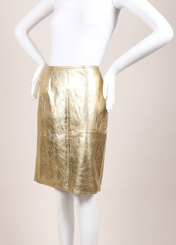 Carolina Herrera Gold Leather Metallic Belted Pencil Skirt Sideview