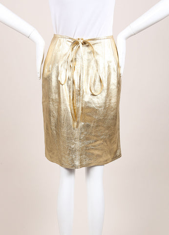 Carolina Herrera Gold Leather Metallic Belted Pencil Skirt Frontview