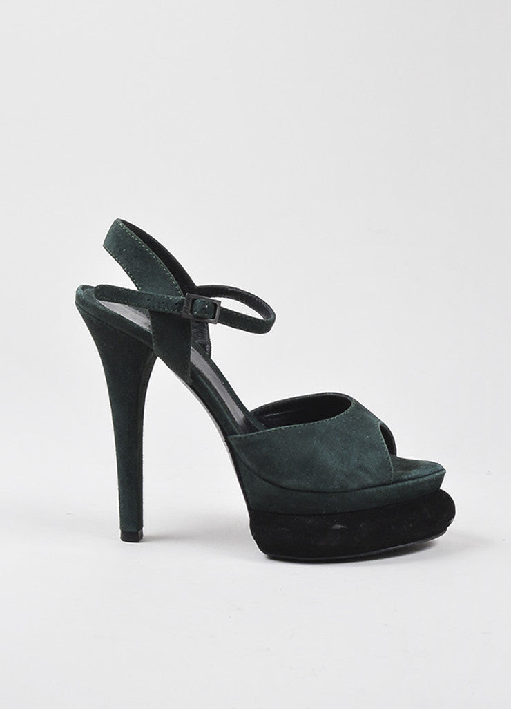 "Fendi Green Black Suede Leather ""Bubble"" Platform Ankle Strap Sandals Sideview"