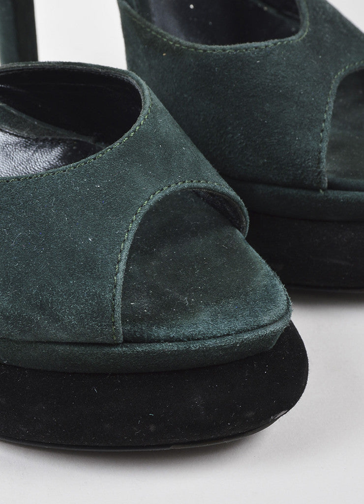 "Fendi Green Black Suede Leather ""Bubble"" Platform Ankle Strap Sandals Detail"