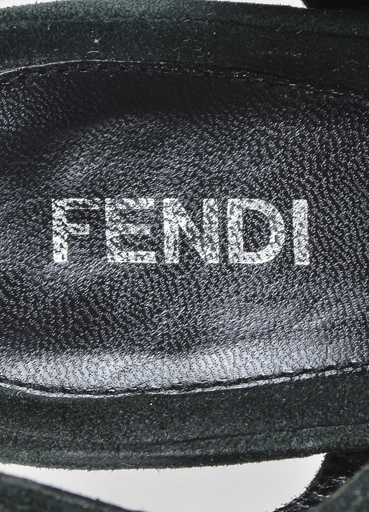 "Fendi Green Black Suede Leather ""Bubble"" Platform Ankle Strap Sandals Brand"