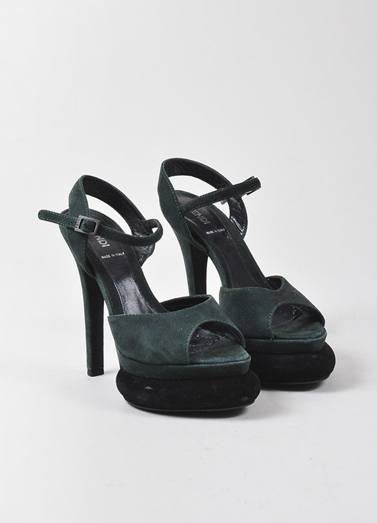 "Fendi Green Black Suede Leather ""Bubble"" Platform Ankle Strap Sandals Frontview"