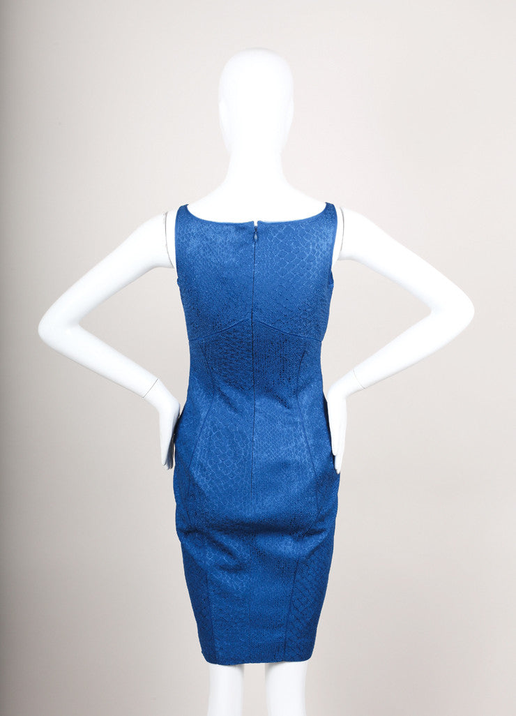 Blue Snake Print Stretchy Knit Sleeveless Bodycon Dress