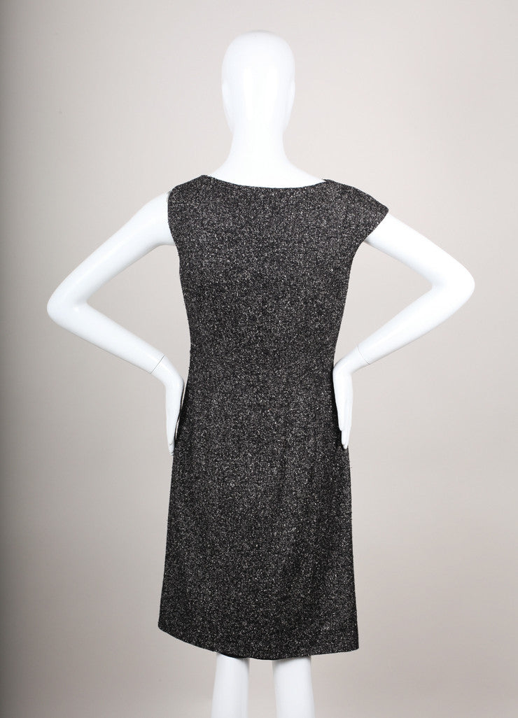 Black and White Silk and Wool Tweed Sleeveless Dress