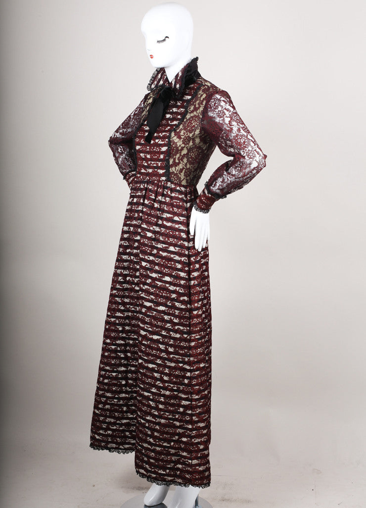 Maroon Floral Lace Long Sleeve Gown