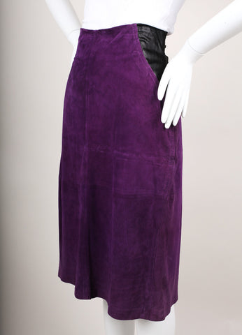 Purple and Black Paneled Suede Leather Pencil Skirt