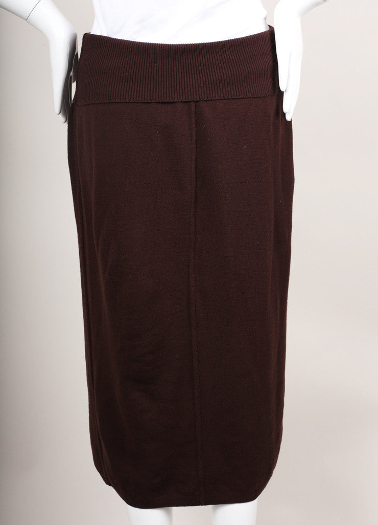 Brown Wool Blend Knit Ankle Length Sweater Skirt