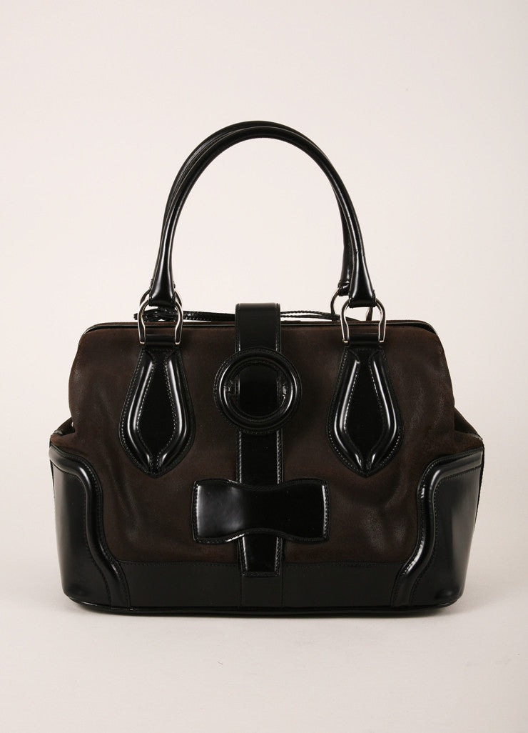 Balenciaga Dark Brown and Black Leather Structured Hinged Frame Satchel Bag Frontview