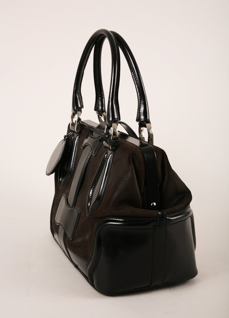 Balenciaga Dark Brown and Black Leather Structured Hinged Frame Satchel Bag Sideview