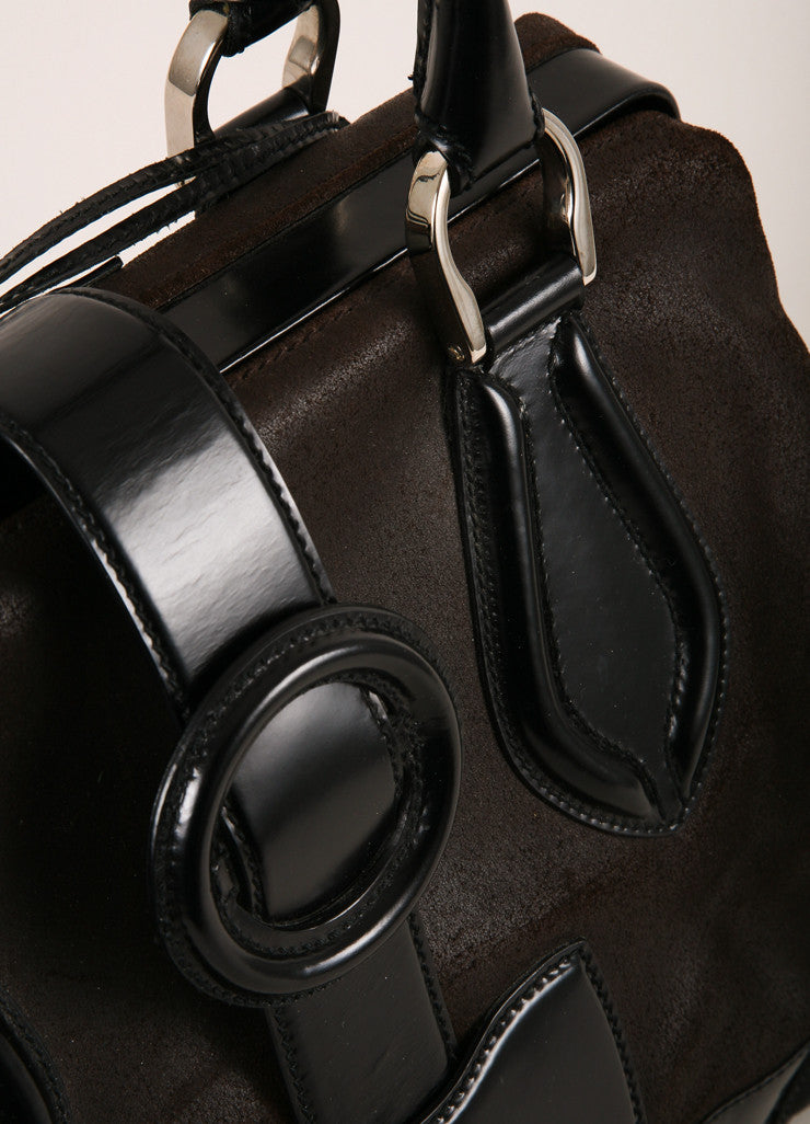 Balenciaga Dark Brown and Black Leather Structured Hinged Frame Satchel Bag Detail View