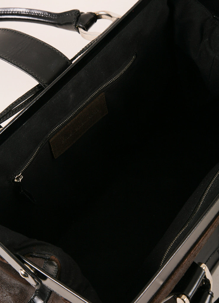 Balenciaga Dark Brown and Black Leather Structured Hinged Frame Satchel Bag Interior View