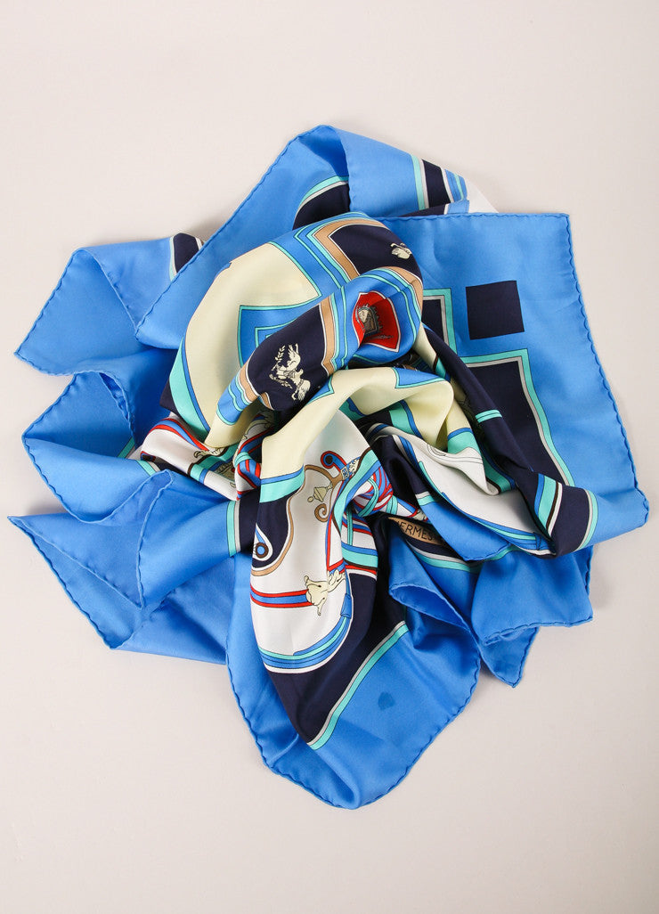 "Hermes Blue and Multicolor Carriage Print ""Washington's Carriage"" Silk Scarf Frontview"
