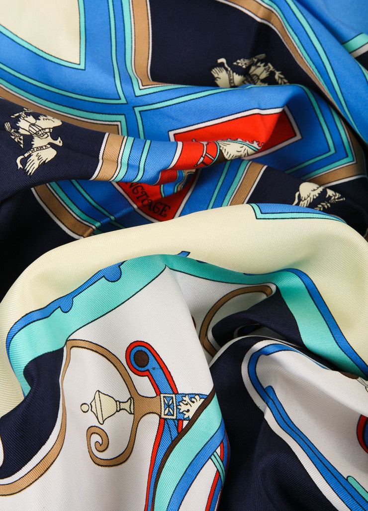"Hermes Blue and Multicolor Carriage Print ""Washington's Carriage"" Silk Scarf Detail View"
