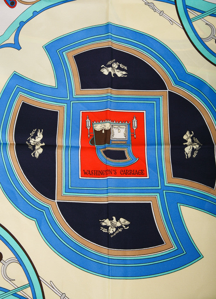 "Hermes Blue and Multicolor Carriage Print ""Washington's Carriage"" Silk Scarf Detail View 2"