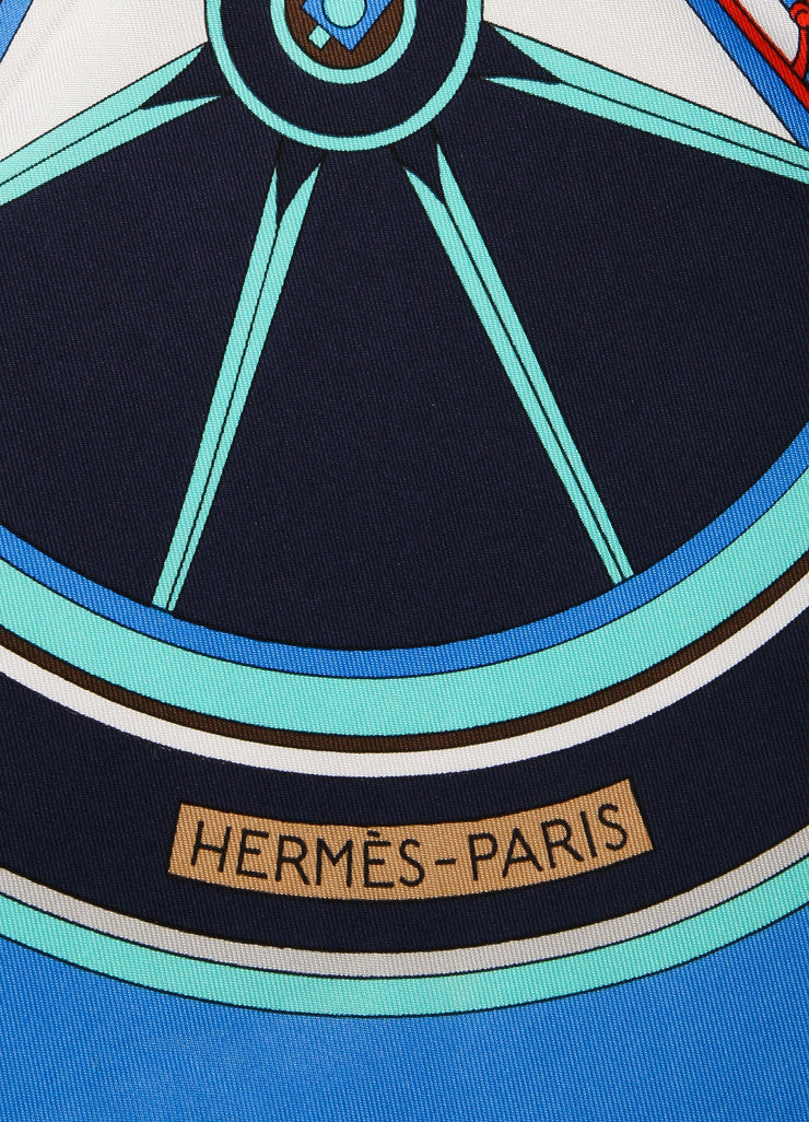 "Hermes Blue and Multicolor Carriage Print ""Washington's Carriage"" Silk Scarf Brand View"