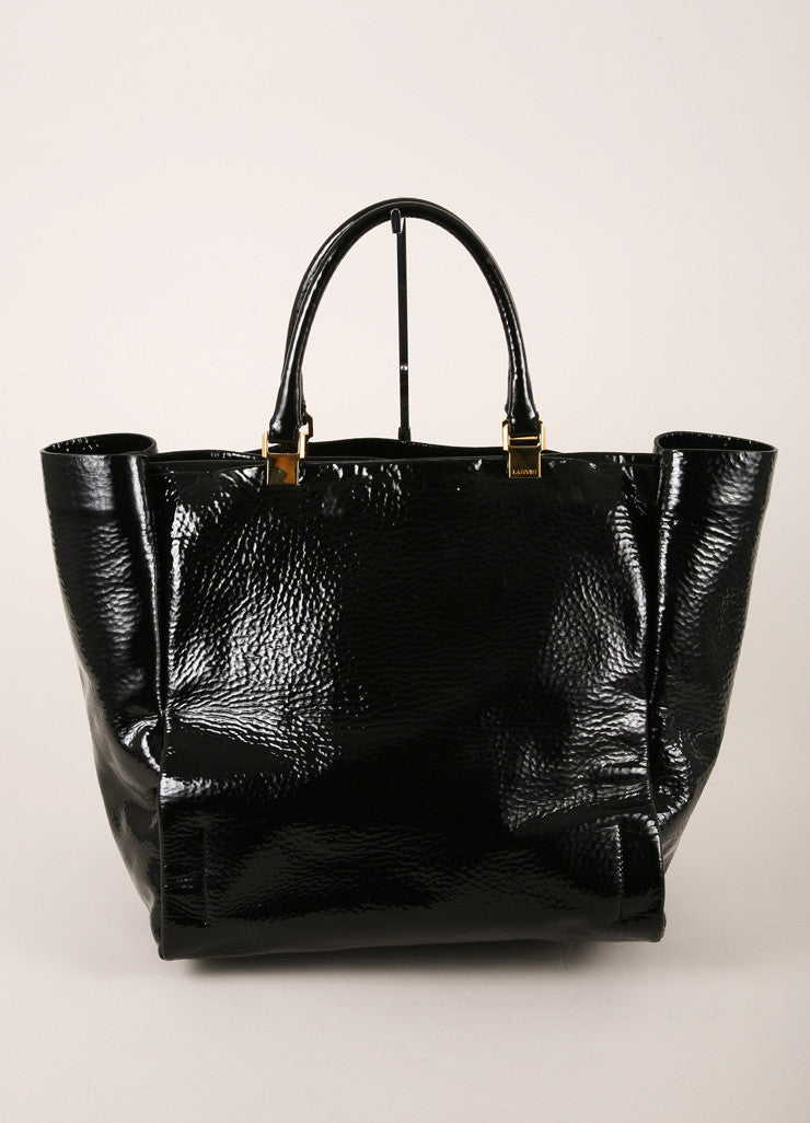 Lanvin Black and Gold Toned Stippled Patent Leather Tote Bag Frontview