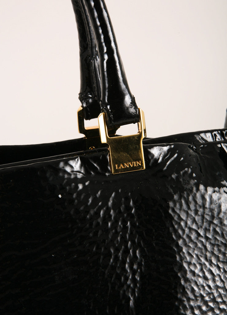 Lanvin Black and Gold Toned Stippled Patent Leather Tote Bag Detail Veiw 2