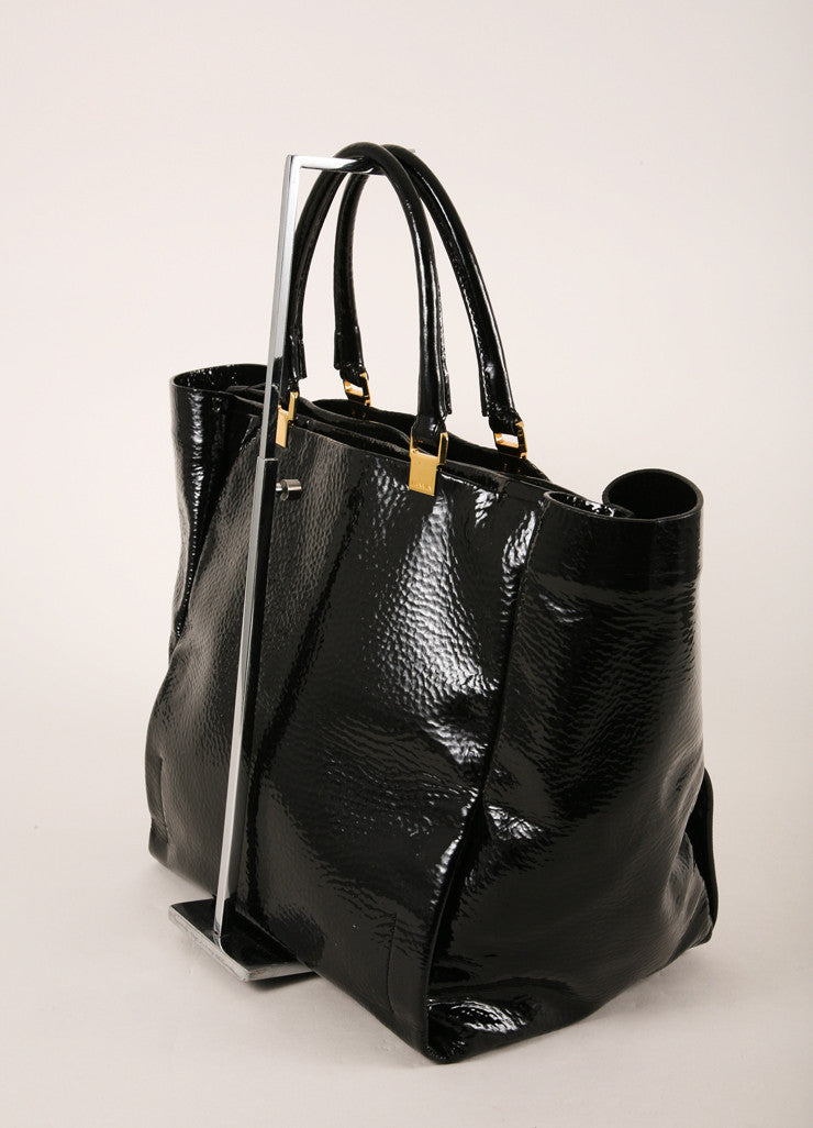 Lanvin Black and Gold Toned Stippled Patent Leather Tote Bag Sideview