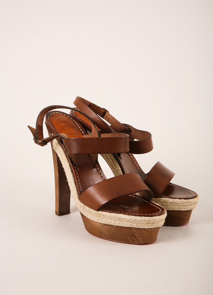 "Christian Louboutin Brown Strappy Leather ""Satrinxa"" Espadrilles Sandals Frontview"