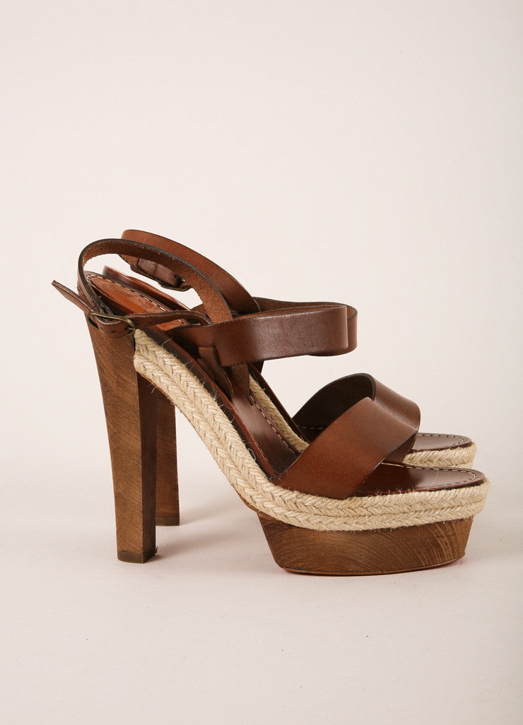 "Christian Louboutin Brown Strappy Leather ""Satrinxa"" Espadrilles Sandals Sideview"