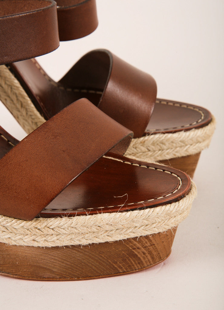 "Christian Louboutin Brown Strappy Leather ""Satrinxa"" Espadrilles Sandals Detail View"