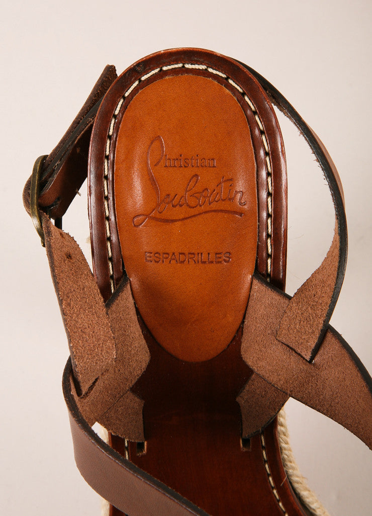 "Christian Louboutin Brown Strappy Leather ""Satrinxa"" Espadrilles Sandals Brand View"