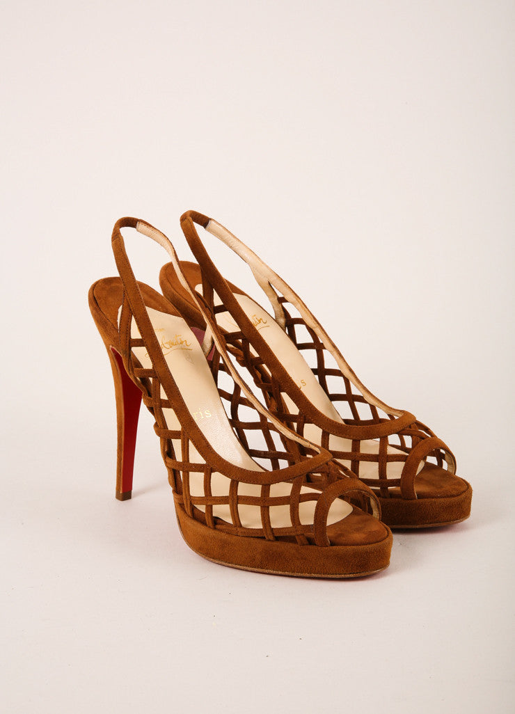 "Christian Louboutin Brown Suede Cate Leather ""Nuit D'ete"" Peep Toe Heels Frontview"