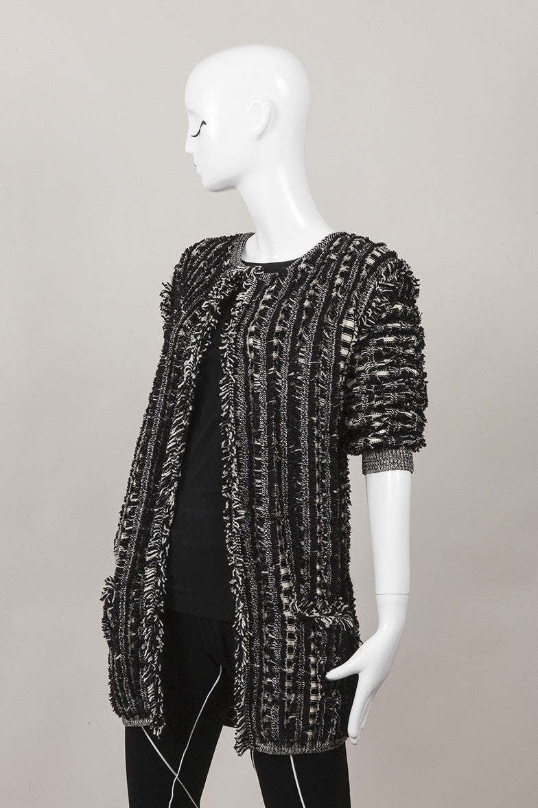 New With Tags Black and Cream Wool Boucle Cardigan