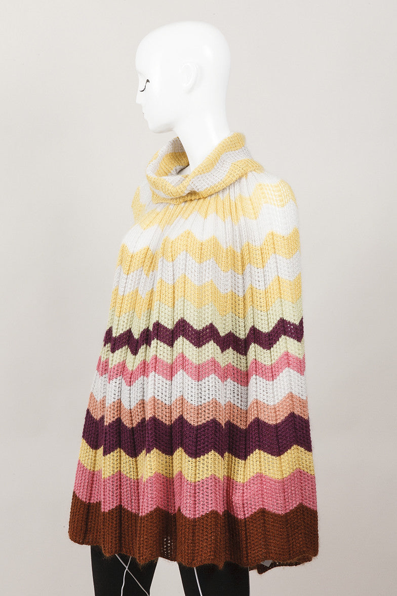 Multicolor Wool and Mohair Blend Striped Knit Cape