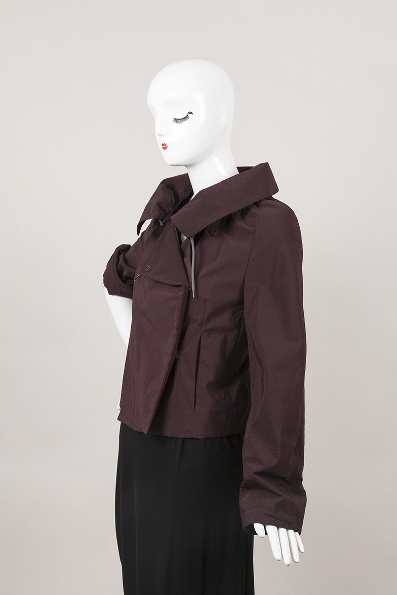 Eggplant Purple Cotton and Nylon Drawstring Collar Jacket