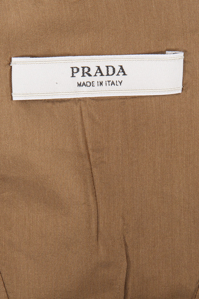 Olive and Gold Prada Cropped Jacket With Grommet Details