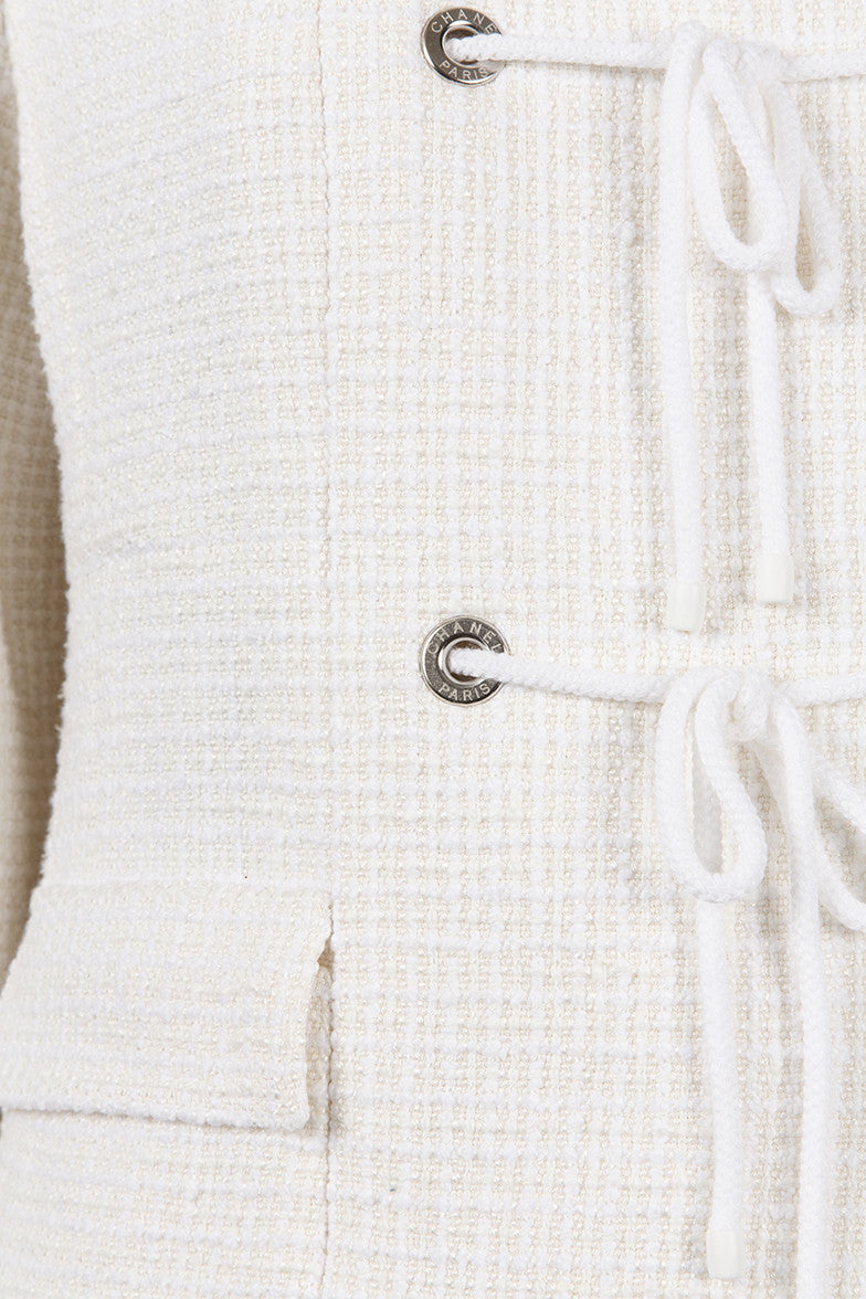 White Tie and Grommet Detail Silk, Cotton, and Linen Tweed Skirt Suit