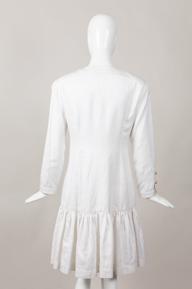 White Drop Waist Ruffle Dress With Gold Flower Buttons