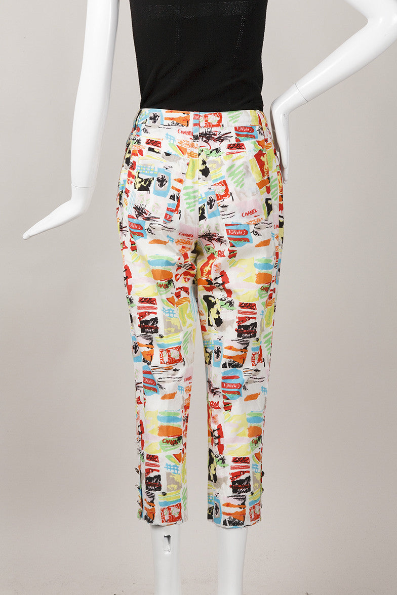 Multicolor Printed Cropped Cotton Pants