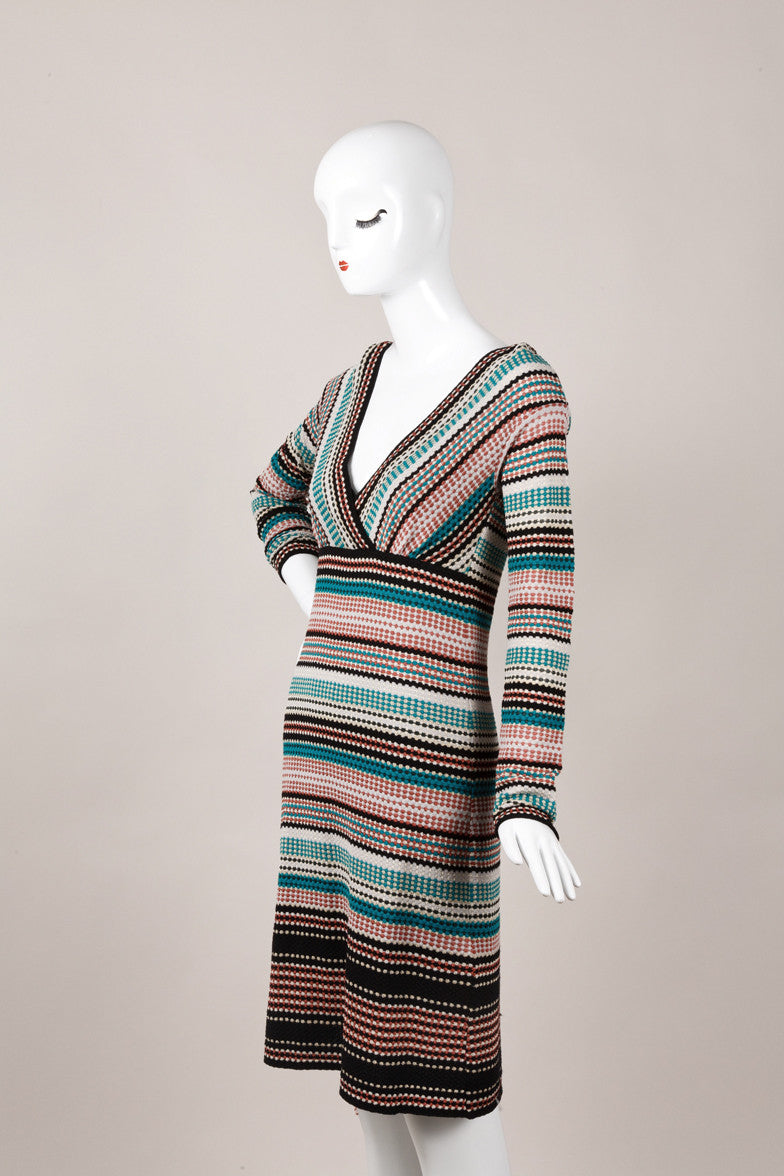 Multicolor Knit Long Sleeve V Neck Dress