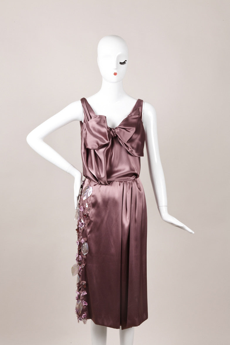 Purple Sleeveless Dress With Leaf and Bead Embellishments