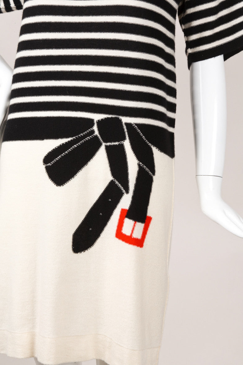 New With Tags Black and Cream Striped Belt Print Sweater Dress