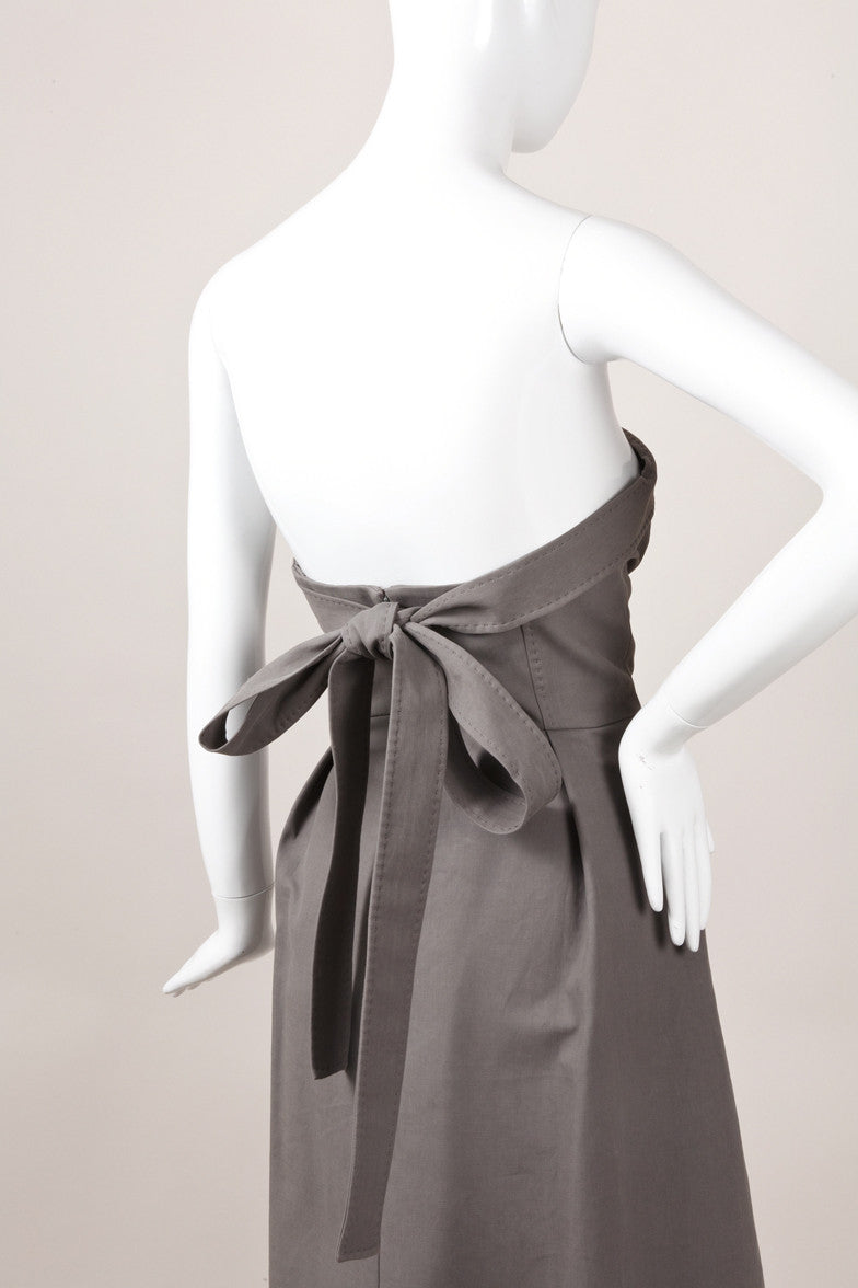 New With Tags Grey Structured Strapless Bustier Dress