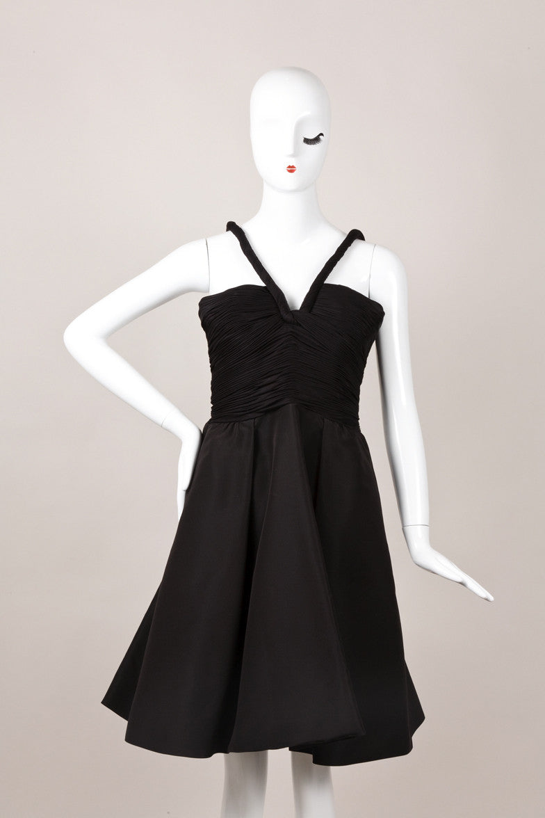 Black Spaghetti Strap Dress with Ruched Bodice