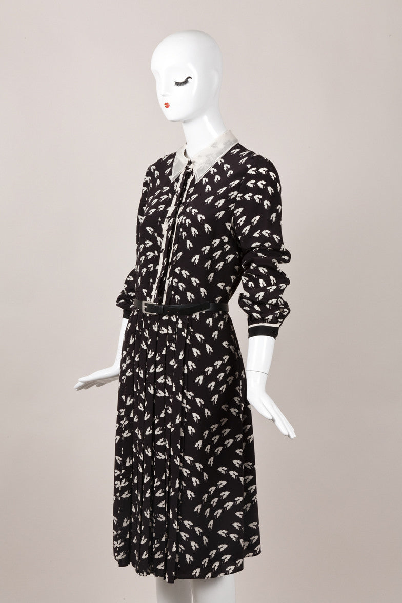 Black and Cream Leaf Print Belted Silk Shirt Dress
