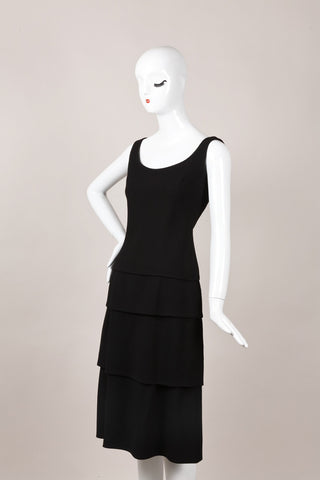 Black Jean Louis Scherrer Tiered Sleeveless Cocktail Dress