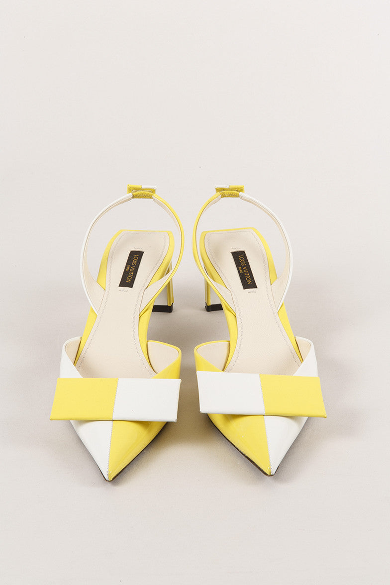White and Yellow Leather Geometric Bow Pumps