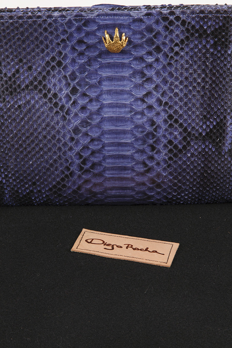 Blue and Black Python Leather Clutch
