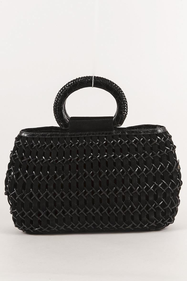 Black Nancy Gonzalez Crocodile and Suede Woven Handbag
