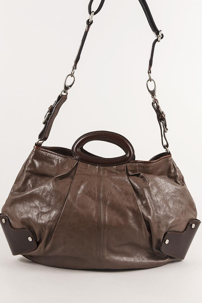 "Leather ""Balloon"" Satchel Bag With Shoulder Strap"