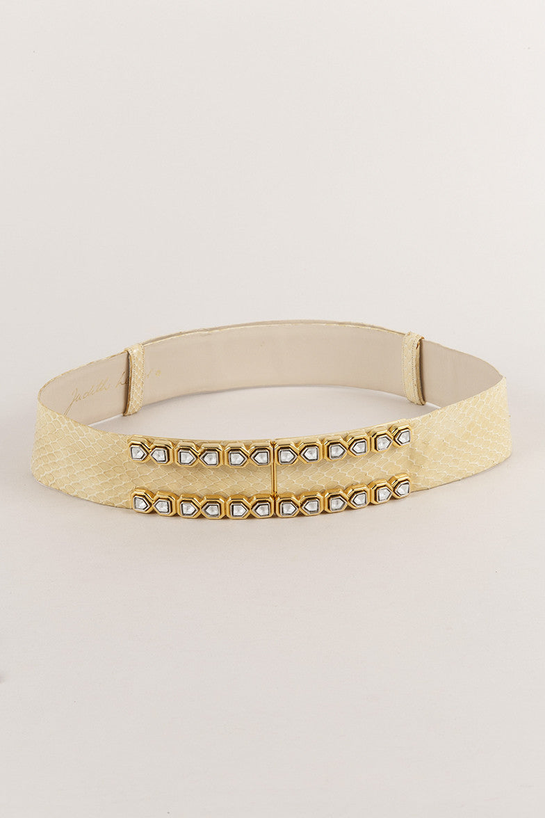 Pale Yellow Judith Leiber Snakeskin Embellished Belt