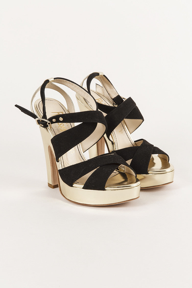 New In Box Black Suede and Gold Leather Strappy Heels